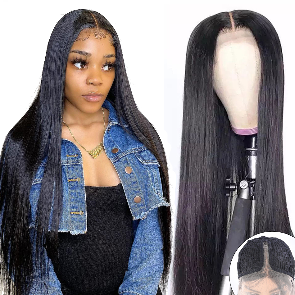 T Part Lace Wig Human Hair Wigs For Black Women Brazilian Straight Human Hair Wig 13x1 Pre Plucked Bleached Knots Wigs 150% Remy