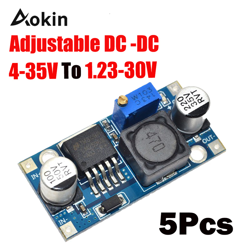 5 Pcs <font><b>DC</b></font>-<font><b>DC</b></font> LM2596 LM2596S 4-35 <font><b>V</b></font> adjustable step-down power <font><b>supply</b></font> module <font><b>DC</b></font> 3A max Output 1.23 <font><b>V</b></font>-<font><b>30</b></font> <font><b>V</b></font> image