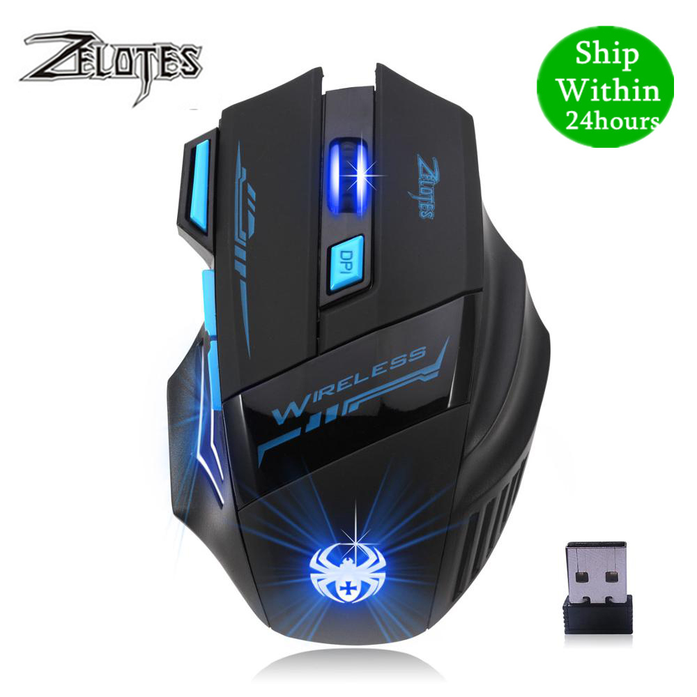 Ergonomic 7 Button LED Backlit 2.4G Wireless 2400 DPI Gaming Mouse For Laptop PC