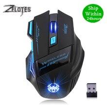 Zelotes f14 2400 dpi 7 botões led computador óptico mouse sem fio 2.4g sem fio jogo mouse luzes de respiração para computador portátil