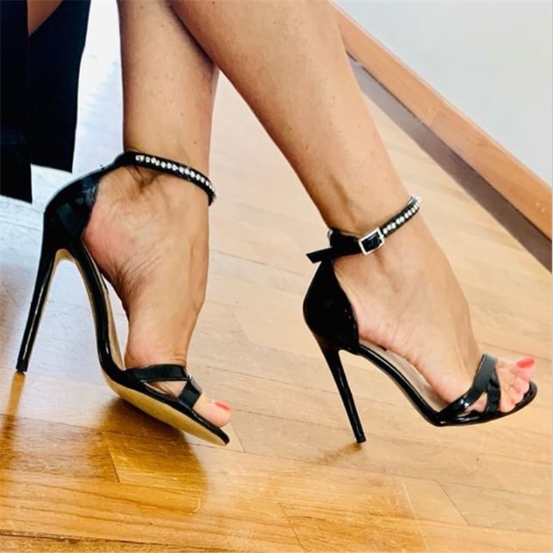 Onlymaker 12cm Womens  Summer Ankle Strap Rhinestone Stilettos Heel Sandals Open Toe Cross Band  Party Dressing Prom Shoes