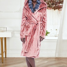 Women Men Thermal Luxury Hooded Flannel Extra Long Bath Robe Winter Sexy Grid Fur Bathrobe Warm Kimono Dressing Gown Robe cheap WENYUJH Polyester CN(Origin) Full Fleece velvet Solid Support Supplied By Manufacturer Directly We will send you as soon as possible