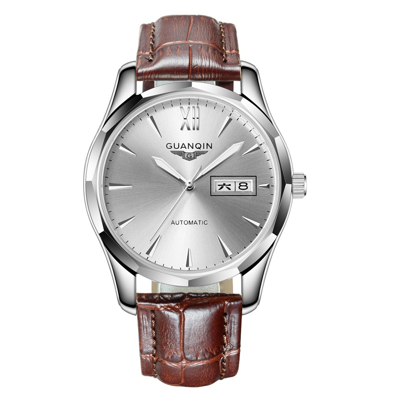 GUANQIN Men Watch Calendar Mechanical Japanese Tungsten-Steel Leather-Strap Date  title=