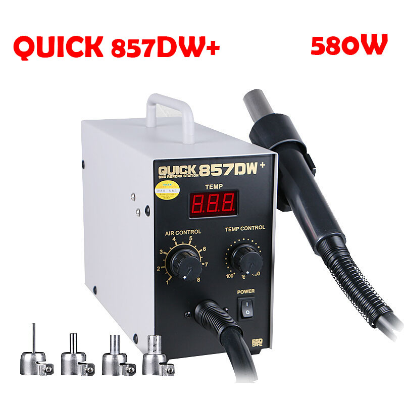 Soldering Station Rework Iron Quick 857DW+ Hot Air Gun With Helical Wind 580W Digital Display Electric SMD BGA Rework Station