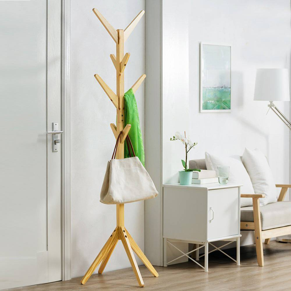 8 Hooks Solid Wood Hanger Floor Standing Coat Racks Home Furniture Storage Clothes Hanging Wooden Hanger Bedroom Drying Rack