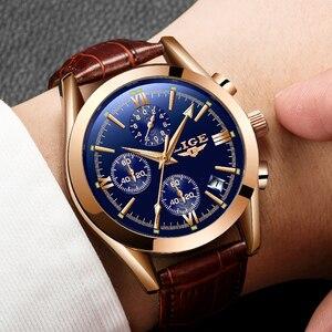 Image 4 - LIGE montre en cuir pour hommes, montre à Quartz de sport, marque de luxe, étanche, avec boîte
