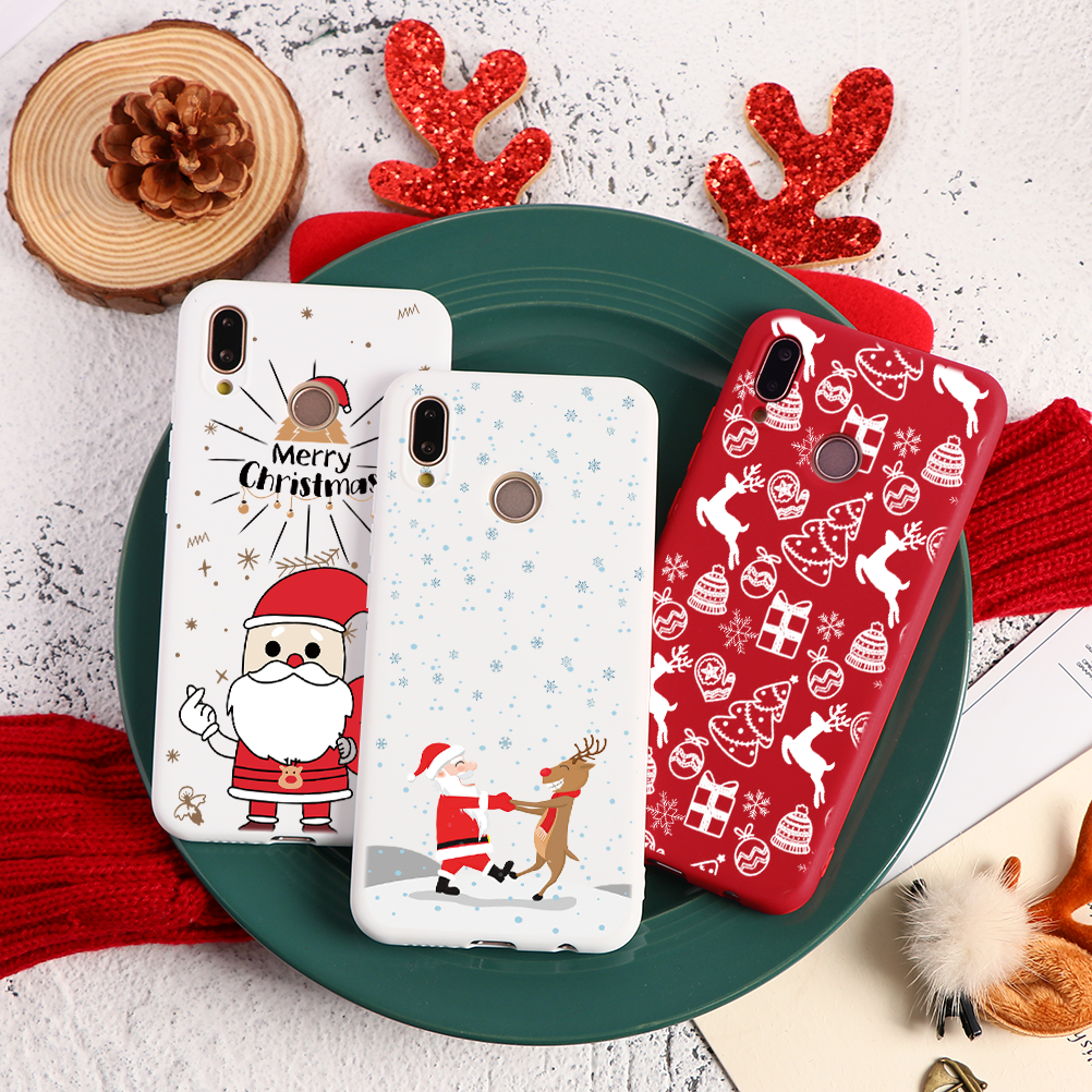 Christmas Deer New Year Silicone Case For Huawei Mate <font><b>30</b></font> 20 <font><b>Lite</b></font> P8 P9 P10 P20 P30 Pro <font><b>P</b></font> Smart Y9 Prime Y6 Y7 Pro 2019 TPU Cover image