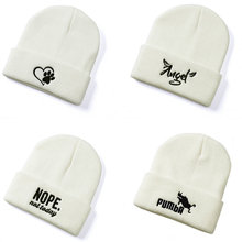 women knitted Beanie hat Embroidery Letters winter cap for men children