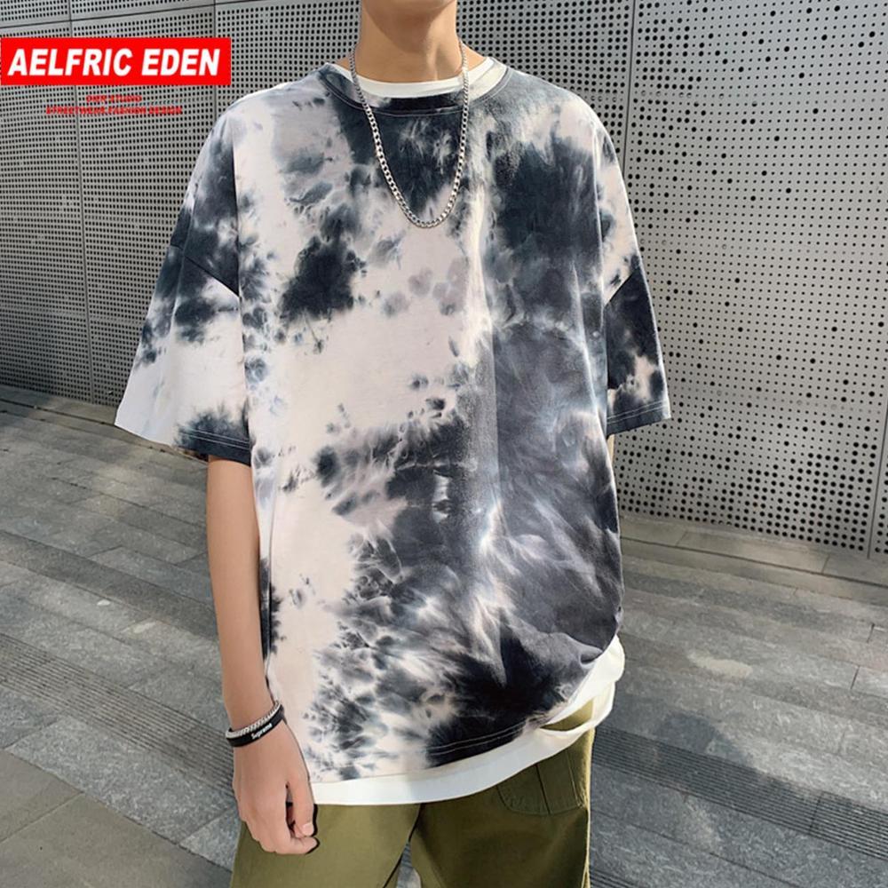 Aelfric Eden 2020 Hip Hop Streetwear Tie Dye T Shirts Men Gradual Printed Oversize T Shirt Harajuku Tops Tees Men Short Sleeve
