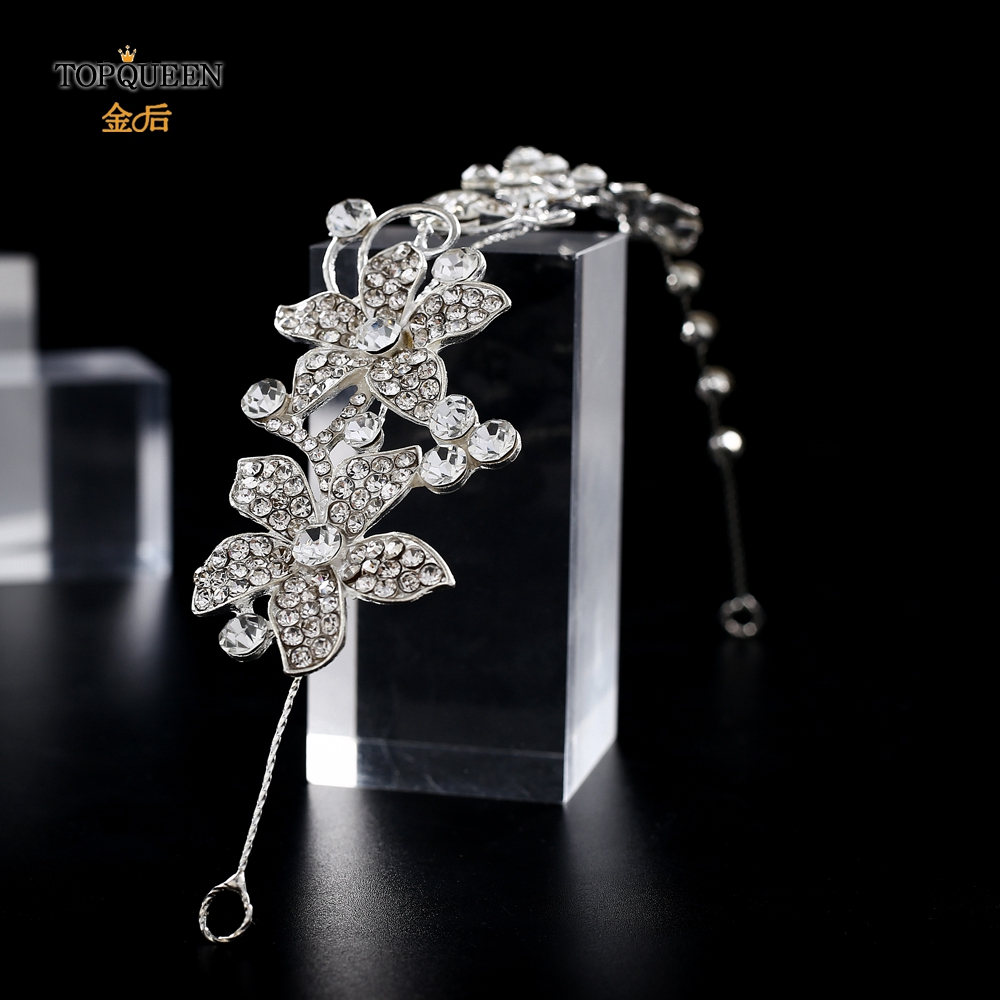 TOPQUEEN HP260 Sliver Crystal Headband For Women Floral Hair Pieces For Women Wedding Hair Accessories Headpieces