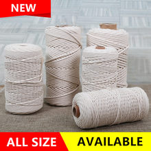 New 1mm-10mm 25M-500M Natural Beige Ropes For Handmade Gift DIY Home Wedding Accessories Macrame Rope Twist String Cotton Cords