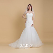 2020 S.T.DES Sexy White Strapless Sweetheart Ruched Mermaid Dress Sweep Train Wedding Dress For Woman dress sexy woman dress