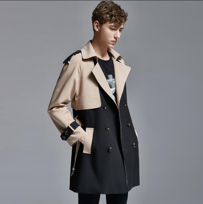 Mens   trench   coats płaszcz man long coat men British classic clothes Color matching overcoat long sleeve 2019 new designer