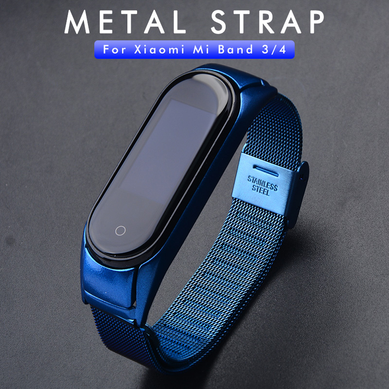 Stainless Steel Strap For XiaoMi Mi Band 4 Metal Straps Mi Band 3 Wrist Strap Miband 3 4 Replaceable Smart Watch Belt Bracelet