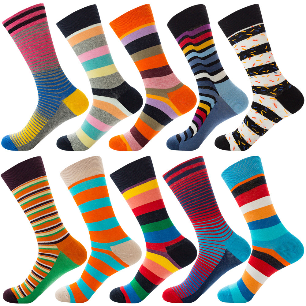 PEONFLY 1 Pair Men Dress Socks Cotton Colorful Comfortable Happy Skateboard For Reason Funny Geometry Dot Striped Wedding Socks