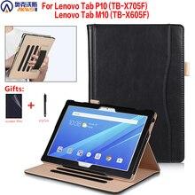 Funda con soporte para tableta Lenovo M10 TB X605F, Funda de cuero TB X605L para Tablet P10 TB X705F / X705L con correa de mano con soporte para bolígrafo