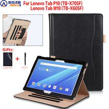 Stand Cover Case Voor Lenovo M10 Tablet TB-X605F TB-X605L TB-X705F/X705L Leather Cover Voor Lenovo Tab P10 10.1 Case handstrap Pen(China)