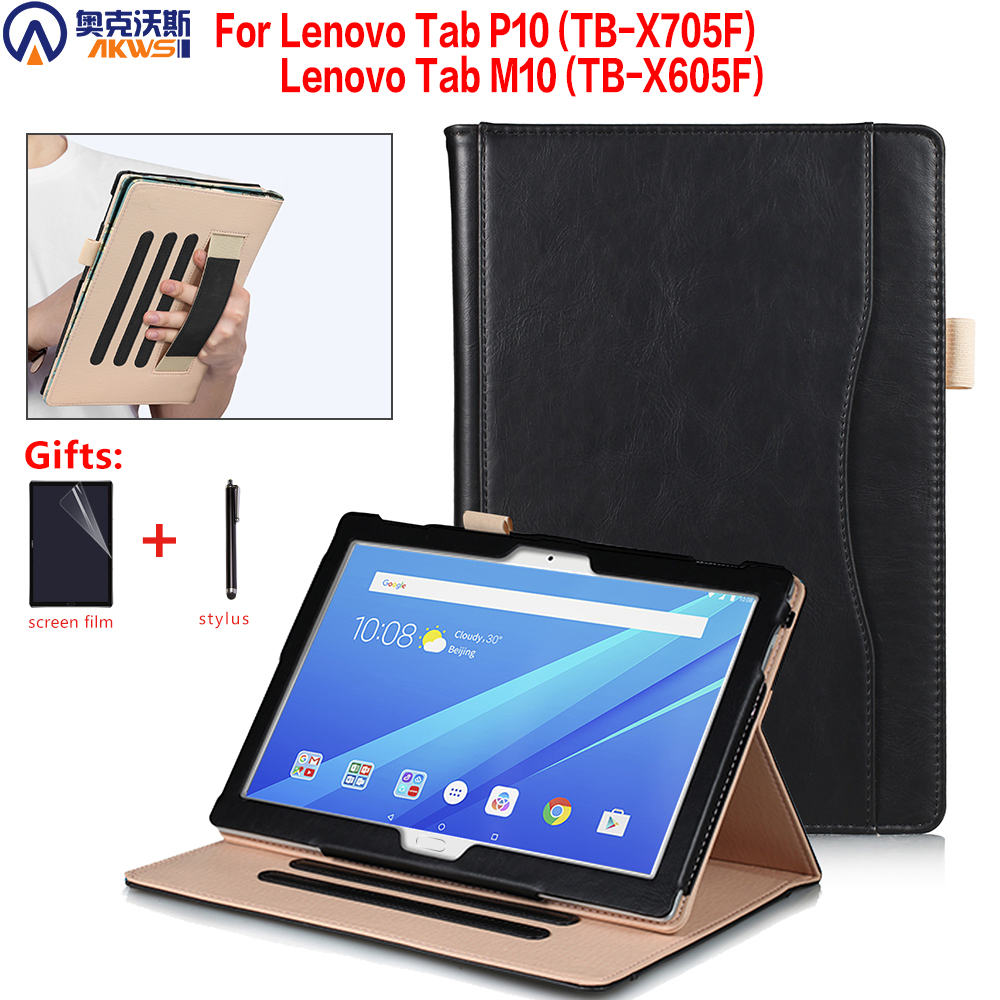 stand cover case for <font><b>Lenovo</b></font> M10 tablet TB-X605F TB-X605L TB-<font><b>X705F</b></font>/X705L leather cover For <font><b>Lenovo</b></font> Tab P10 10.1 case handstrap pen image