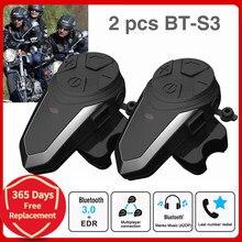 Intercomunicador para capacete de moto 2 conjuntos, BT-S3 intercomunicador bluetooth para 3 pilotos motocicleta comunicação mp3 gps