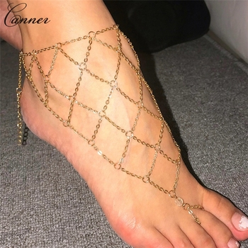 CANNER Exaggerated Hollow Mesh Chains Anklets for Women Gold Color Mesh Chains Leg Bracelet Barefoot Sandals Foot Jewelry Q40 2