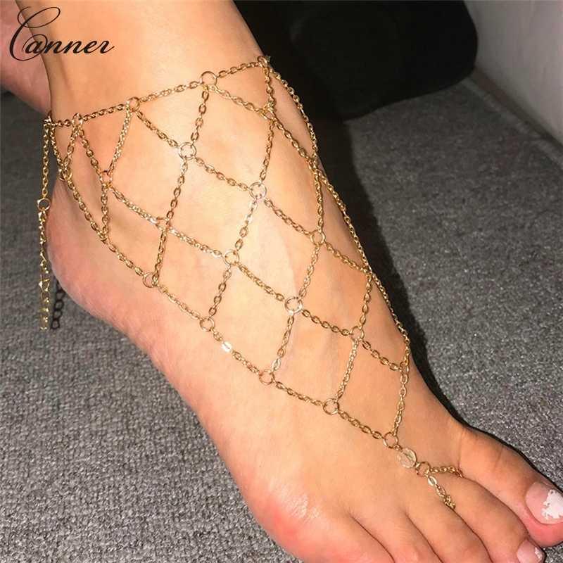CANNER exagerada cadenas de malla hueca tobilleras para mujer cadenas de malla de Color dorado pulsera de pierna sandalias descalzas joyería de pie Q40