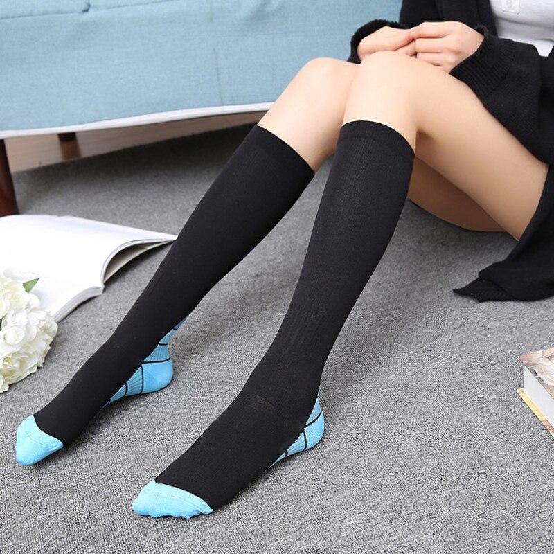 1pair Unisex Compression Stockings Pressure Nylon Varicose Vein Stocking Knee High Leg Shaping Stretch Pressure Stockings