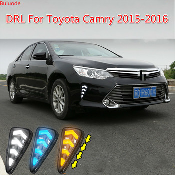 2PCS Car Accessories LED Daytime Running Light For Toyota Camry 2015 2016 DRL Cover Fog Lamp Car-Styling External Front Fog Lamp