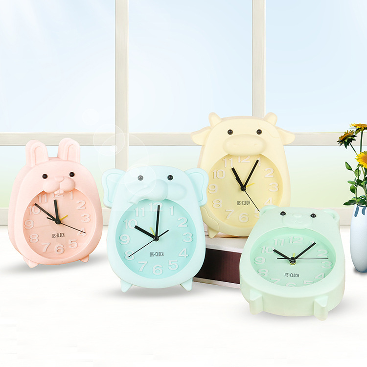 Creative Cartoon Cute Animal Alarm Clock For School-Age Children Gift Clock Candy Color Living Room Decoration Relogio Mesa