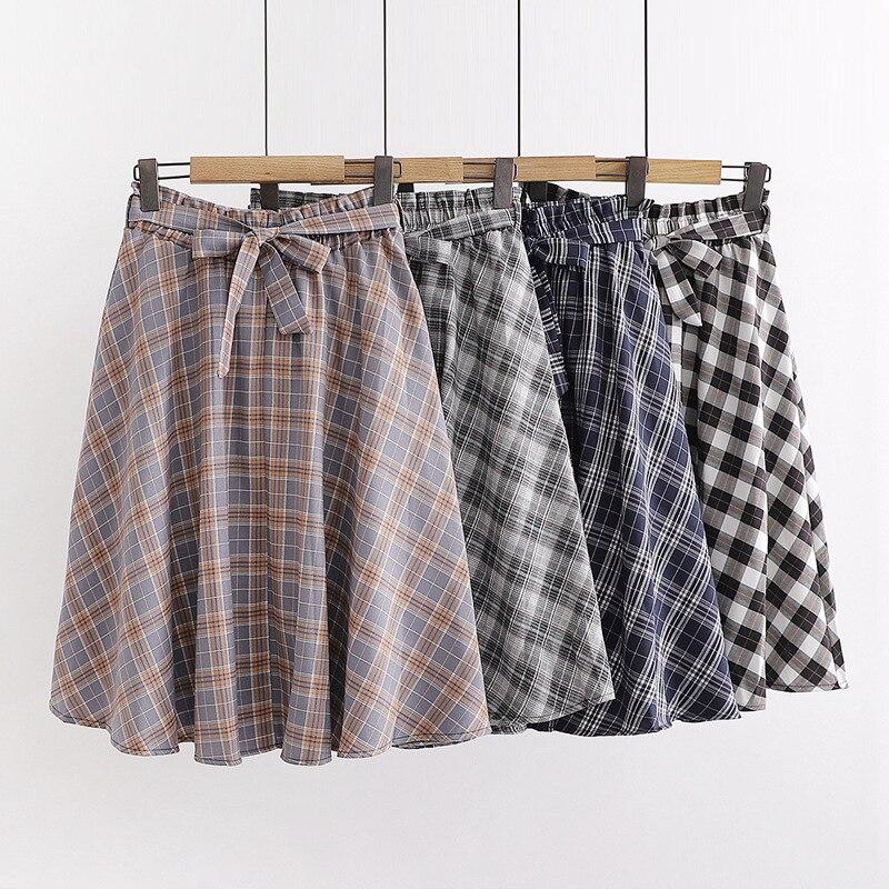 Grm9187 Autumn New Style Korean-style Versatile College Style Slimming Elastic Waist Of Bow Plaid Half-length Skirt