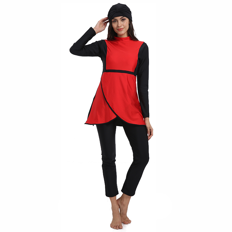 Image 4 - HAOFAN Muslim swimwear Women Middle East Islamic Traditional  Hijab Full Cover Burkinis Red Swimsuit Bathing Suit For Lady 4XLMuslim  Swimwear