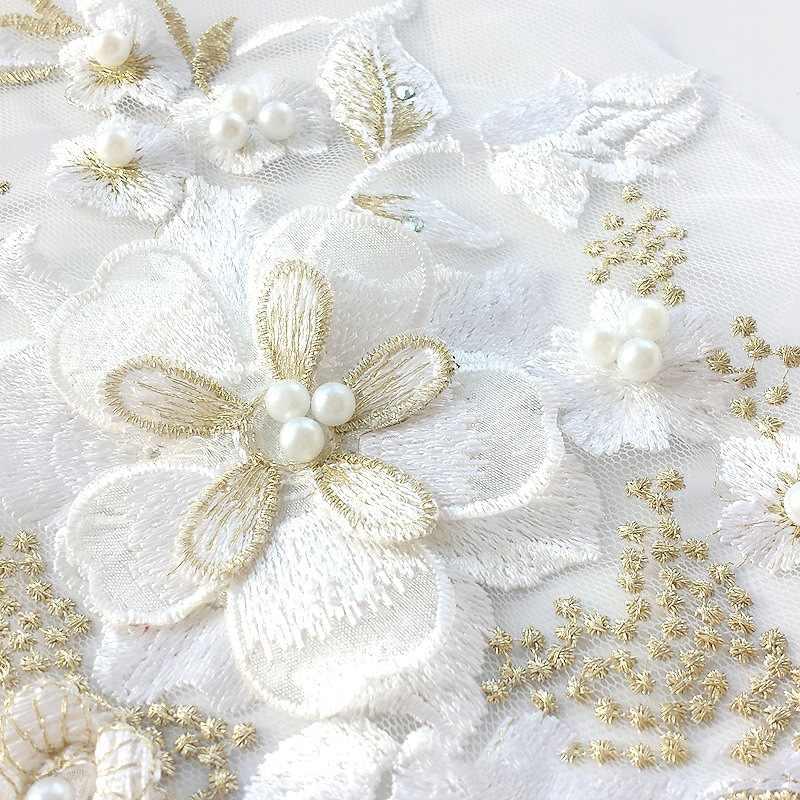 Couleur perle perlée 3D broderie Patch mariage dentelle fleur Patch Performance vêtements bricolage dentelle accessoires appliques Costumes déco