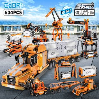 Cada 634 pièces ville Port camion ingénierie voiture 10 en 1 blocs de construction pour ville technique Induction briques jouets pour les enfants