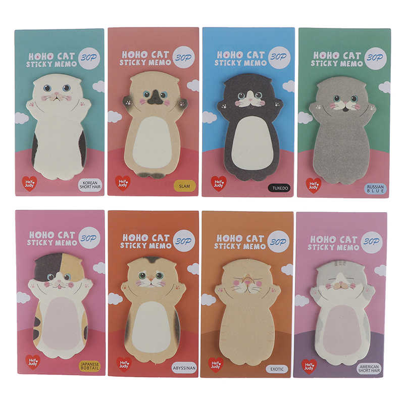 1 Pc Cartoon Kat Sticky Memo Pad Marker Note Planner Stickers Leuke Stationery Office Accessoires Schoolbenodigdheden