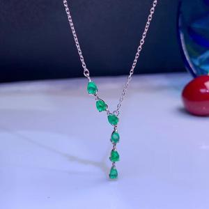 Image 2 - MeiBaPJ Luxurious Natural Emerald Fashion Long Pendant Necklace 925 Pure Silver Fine Wedding Jewelry for Women