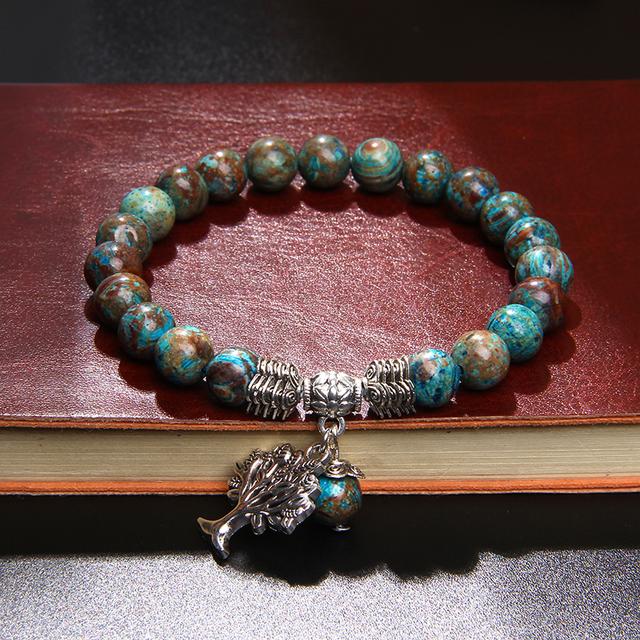 Charm Bracelets Women Natural Stone Bracelets Lapis Lazuli Beaded Bracelets Tree of Life Bracelet Mala Beads Yoga  Jewelry