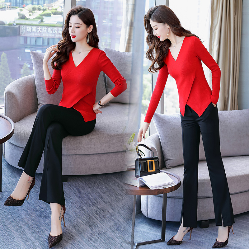 Temperament Suit Women's 2018 New Autumn Knit Long Sleeve Slimming Jacket Wide Leg Pants Fashion Goddess Two-piece Set