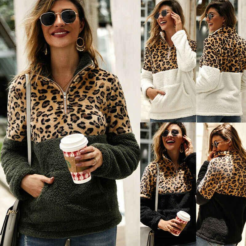 新しい冬のフリースのセーターファッションヒョウパッチワークふわふわセーター暖かいジッパー女性の秋コートトップスプラスサイズ