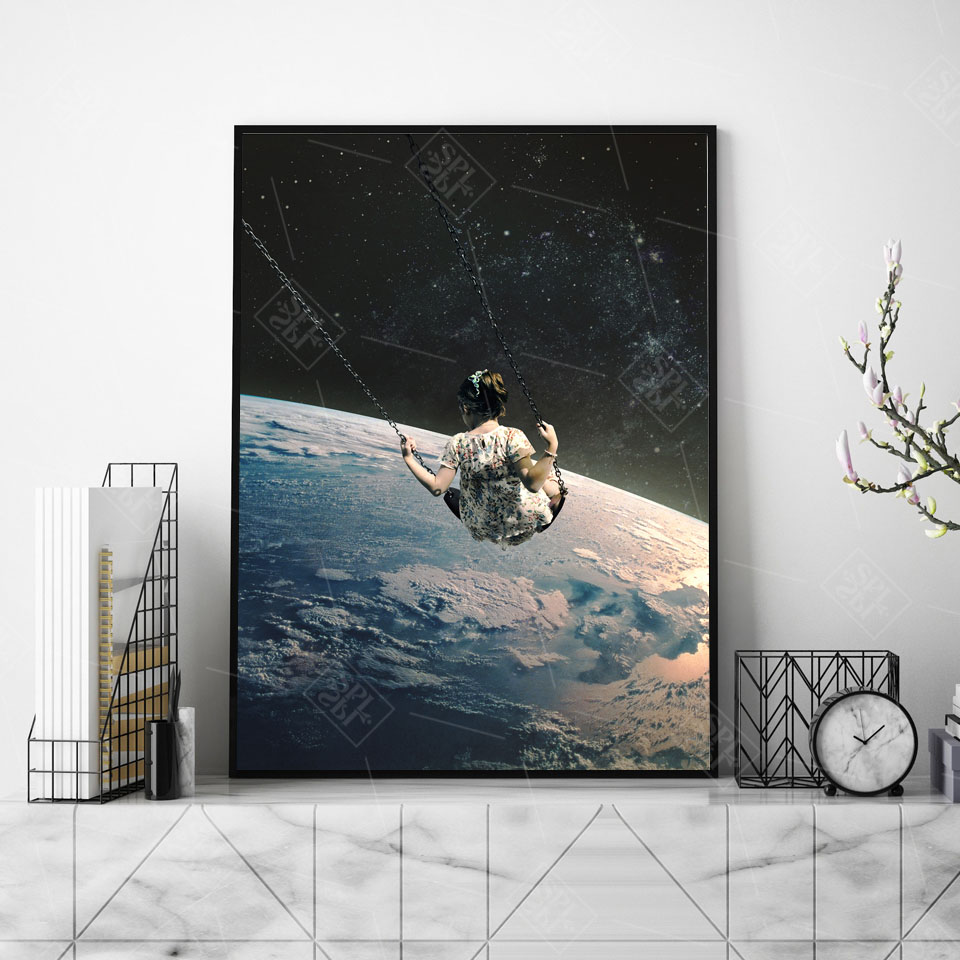 Night-Sky-Art-Prints-Earth-Canvas-Posters-Surrealism-Galaxy-Space-Moon-Canvas-Painting-Swing-Cosmic-Wall (2)