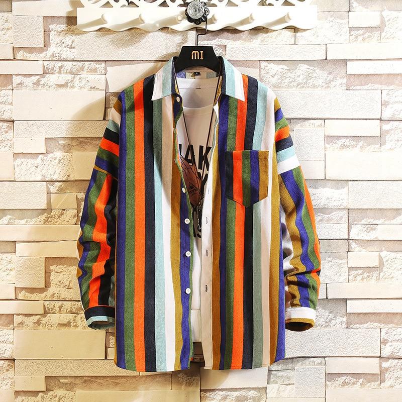 #0156 Vertical Striped Shirts For Men Loose Lapel Collar Men Long Sleeve Shirt Plus Size M-5XL Korean Fashion Man Striped Shirt