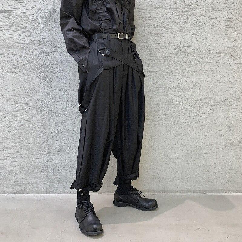 Men Japan Streetwear Punk Gothic Bandage Casual Harem Pant Male Vintage Hip Hop Wide Leg Trousers Stage Clothing Kimono Pant
