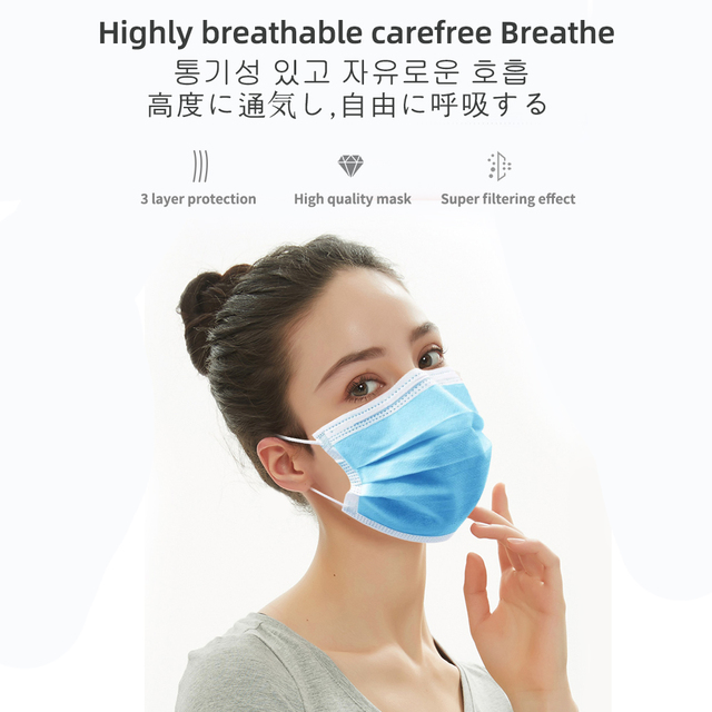 PM2.5 3 layer Filter Masks Anti Droplet Dust Foul Smell Safety Protective Disposable Mouth Face Mask 50pcs Breathable respirator 4