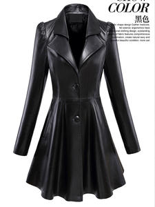 Nerazzurri Skirted Coat Leather Blazer Puff-Sleeve Flare Black Plus-Size Slim-Fit And