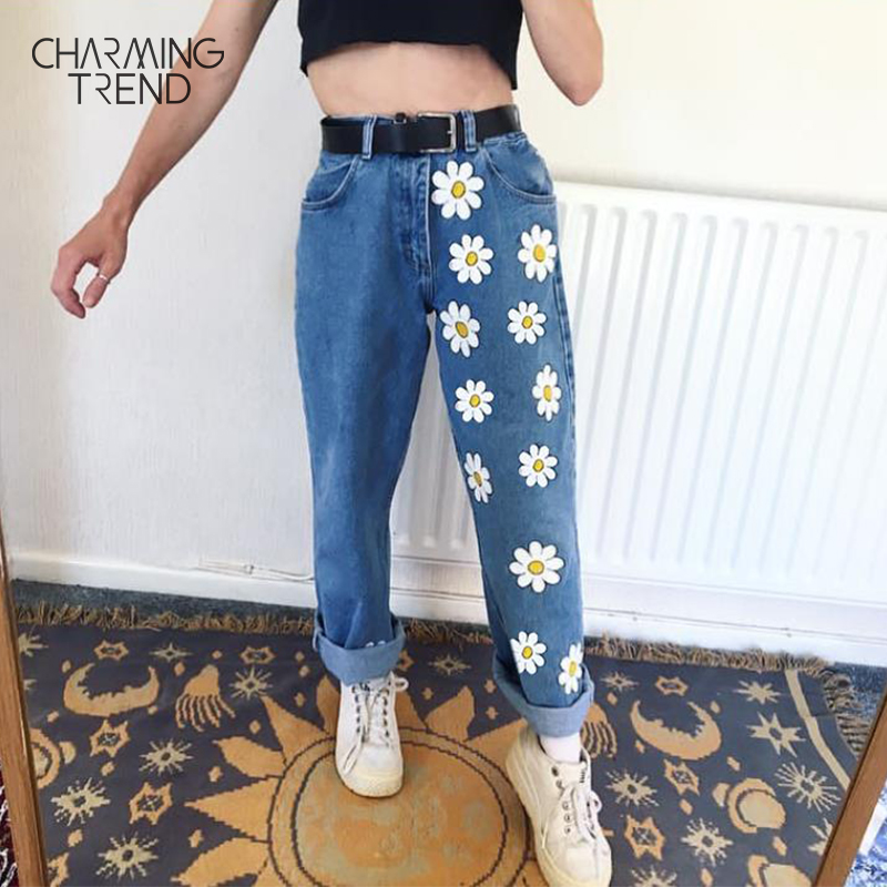 Fashion Chic Women Pants Graffiti Print Casual Girl Jeans Flower Straight Blue Vintage High Street Trousers For Female Jeans