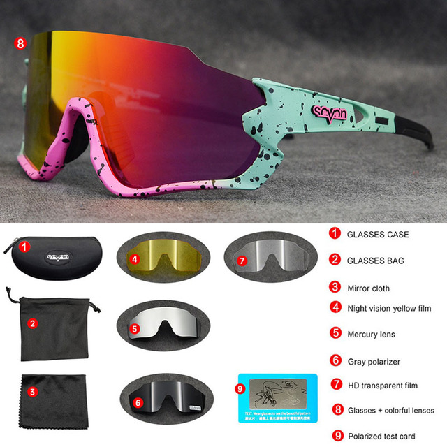 Polarizado óculos de ciclismo homem esporte óculos de sol photochromic uv400 5 lente deportivas polarizadas hombre gafas oculos ciclismo 4