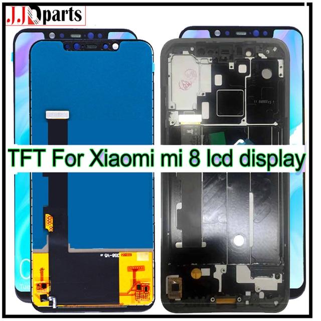 100% di prova Per Xiaomi Mi 8 MI8 Display LCD Digitizer Touch Assemblea di Schermo M1803E1A lcd con cornice TFT Per Xiaomi mi 8 display