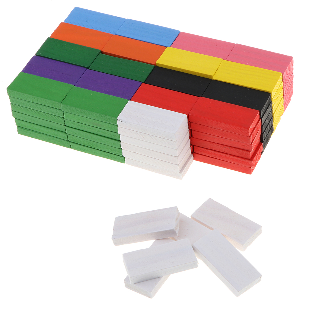 Wooden Domino Blocks Set, 120 PCS 10 Color Colorful Dominoes Building Blocks Racing Toy Tile Game Educational For Party Gift