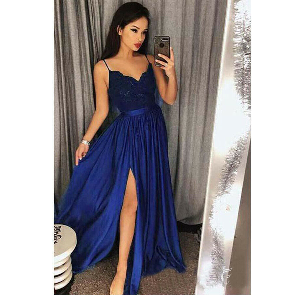 2020 Elegant Women Lace V-neck Strappy Long Female Sexy Evening Party Prom Gown Full Dress Clothes