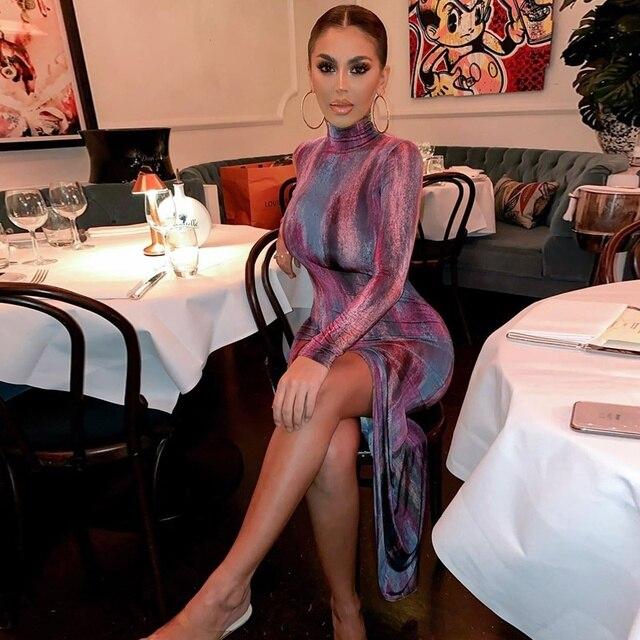 Платье миди с длинным рукавом и разрезом по бокам элегантное
