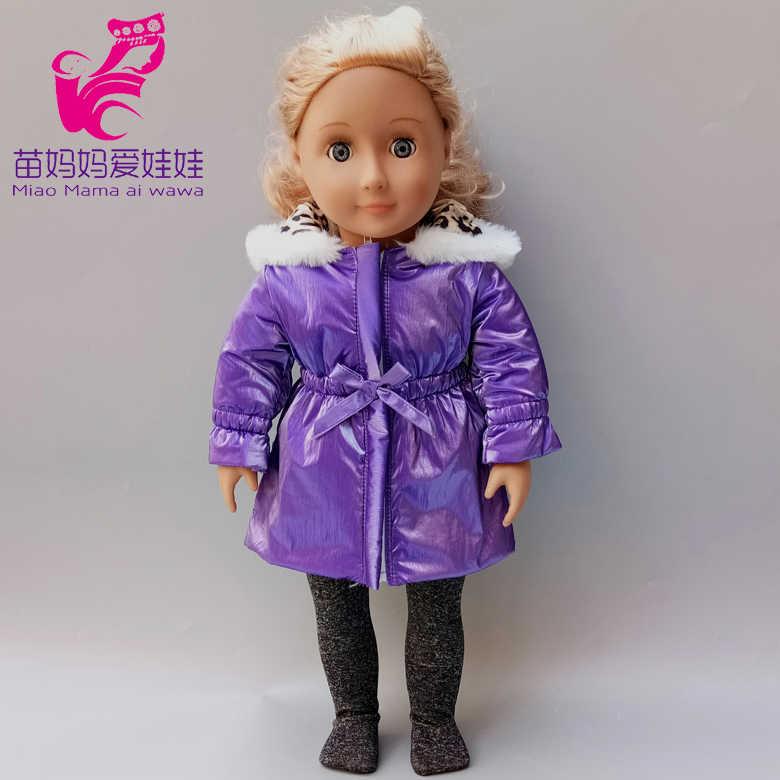 18 polegada boneca roupas roxo blusão leggings para 43cm recém nascido bebê boneca jaqueta zíper roupas de inverno