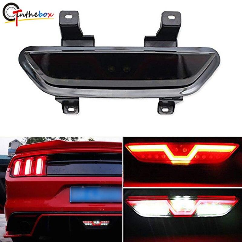Gtinthbox lentille fumée tout-en-un LED complet rouge/blanc Kit d'antibrouillard arrière (fonctions de secours de frein arrière) pour Ford Mustang 2015 up
